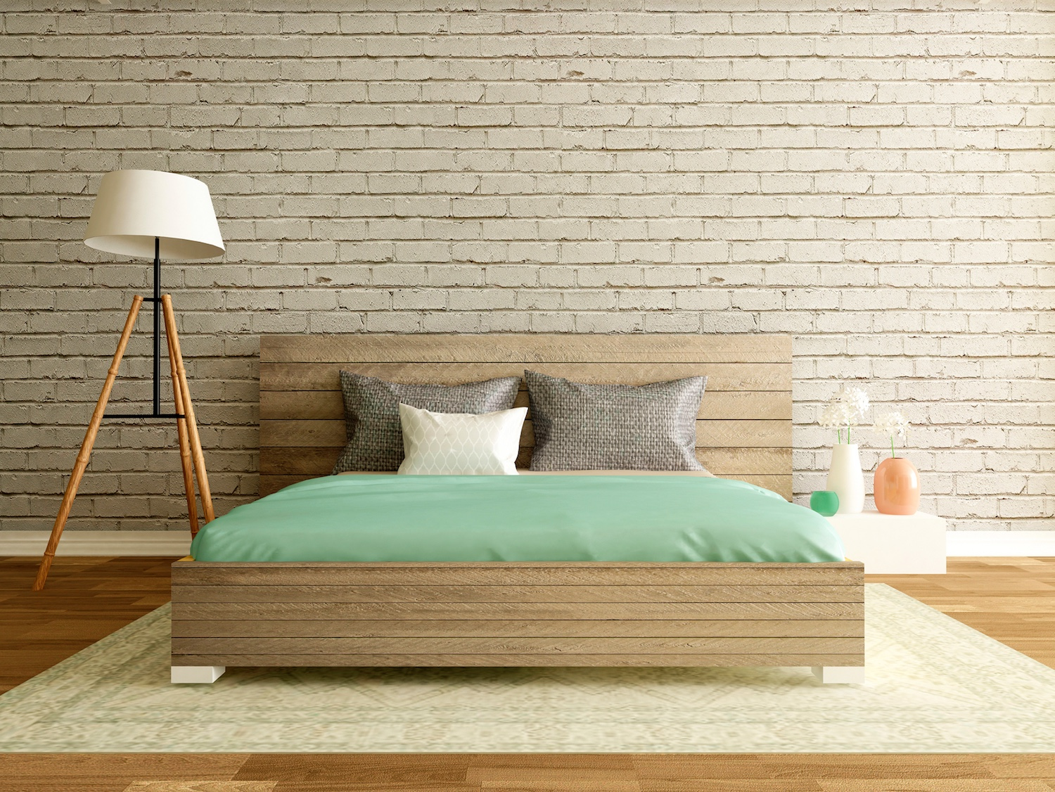 modern loft interior, bedroom with brick wall